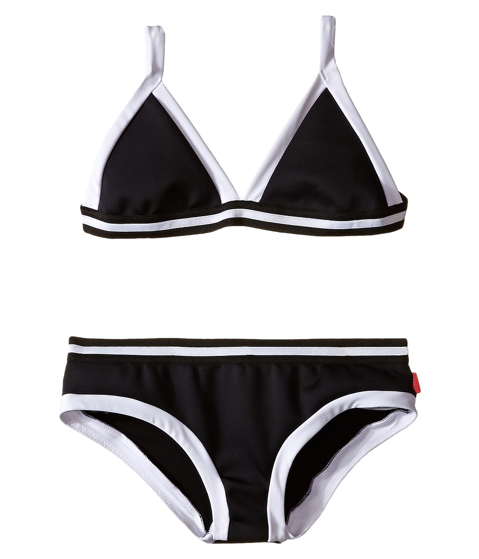 Seafolly Kids - Tagged Scuba Triangle Bikini (Little Kids/Big Kids) (Black/White) Girl's Swimwear