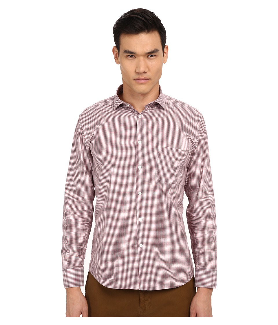 Billy Reid - John T-Shirt Button Up (Brick Red/Grey) Men's Long Sleeve Button Up