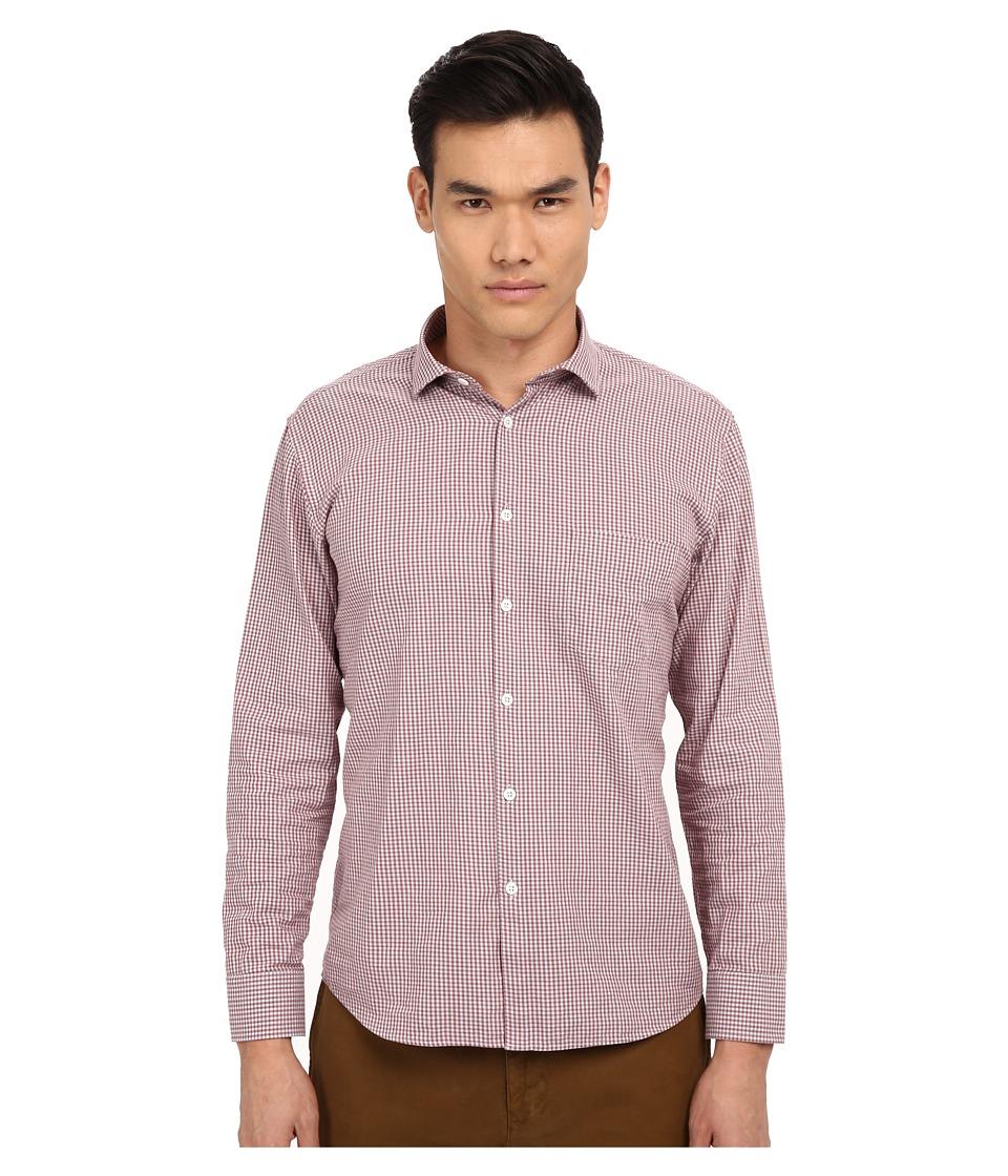 Billy Reid - John T-Shirt Button Up (Brick Red/Grey) Men's Long Sleeve Button Up
