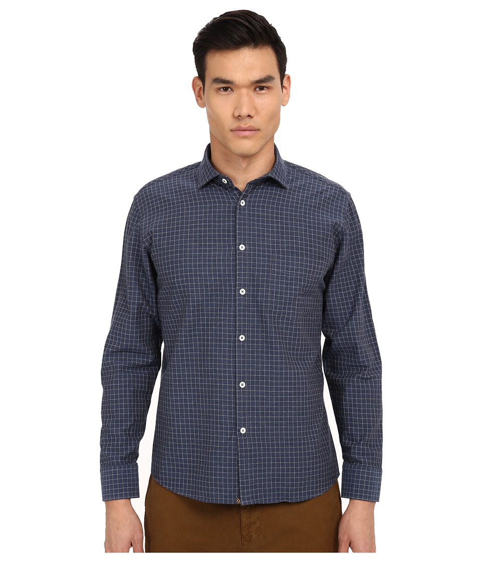 Billy Reid - John T-Shirt Button Up (Navy/White) Men's Long Sleeve Button Up