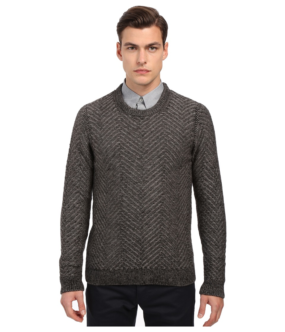 Billy Reid - Herringbone Crew Neck Pullover (Charcoal) Men's Sweater