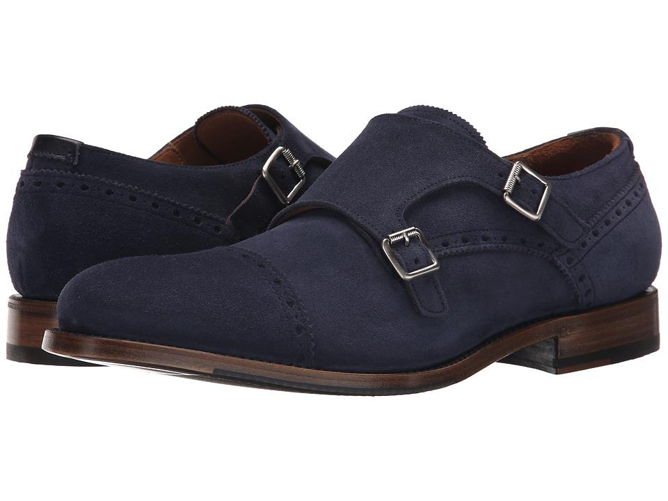 Aquatalia - Fallon (Navy Dress Suede) Men's Monkstrap Shoes