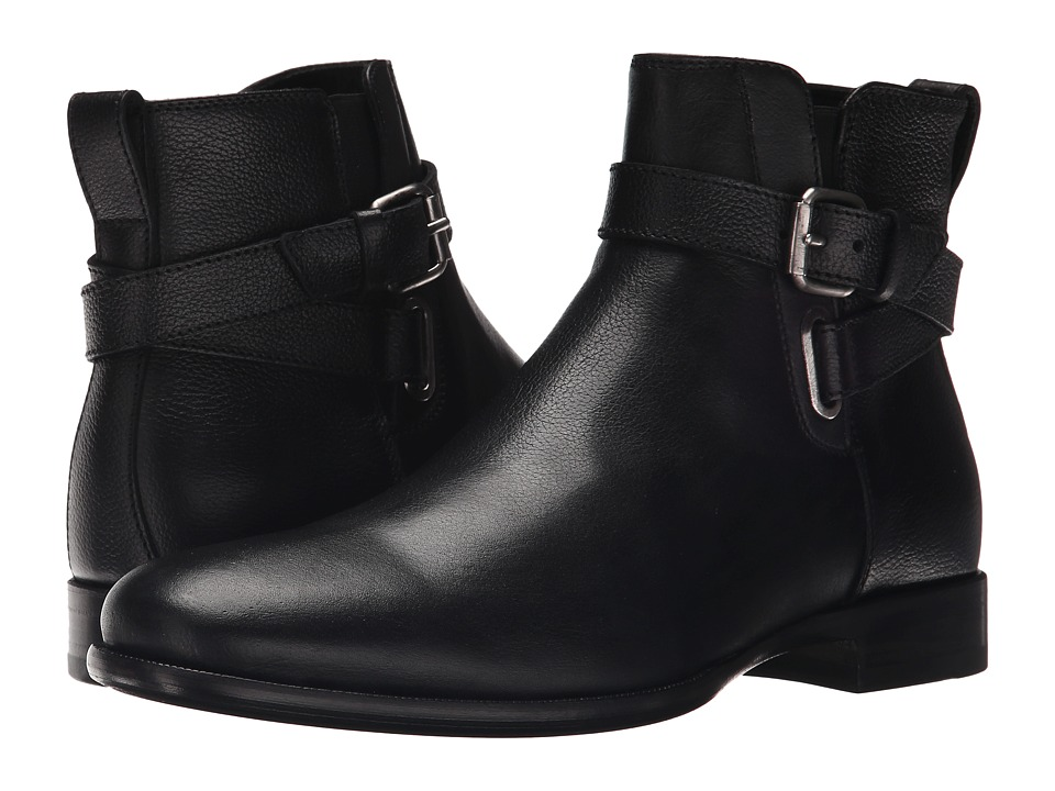 Aquatalia - Kenneth (Black Textured Calf) Men's Zip Boots