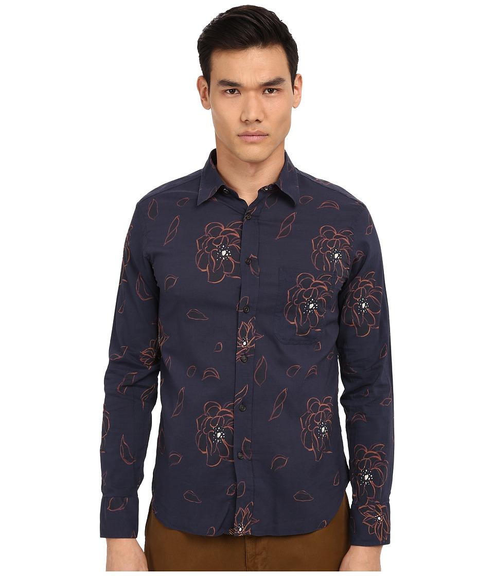 Image of Billy Reid - Arthur Shirt (Blue Floral) Men's Long Sleeve Button Up