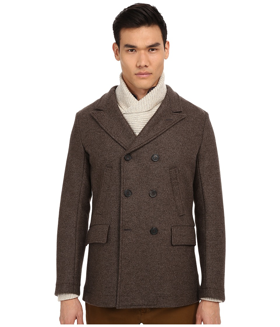 Billy Reid - Bond Peacoat (Brown) Men's Coat