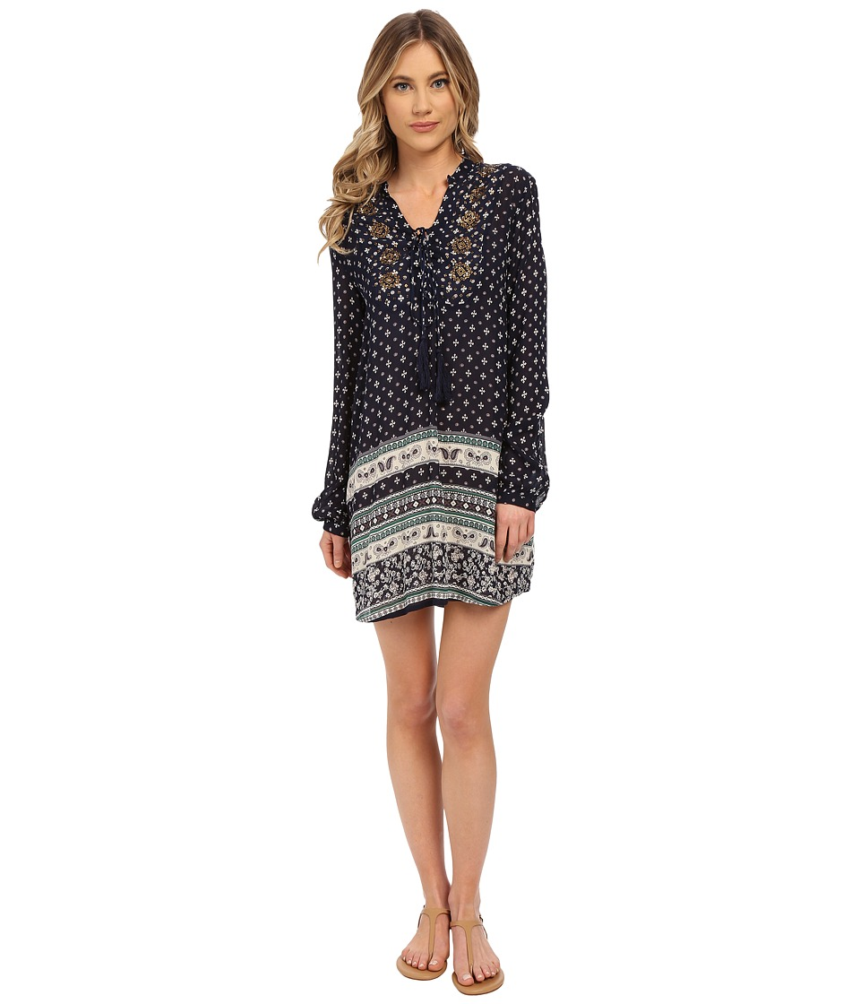 Brigitte Bailey - Grace Long Sleeve Printed Dress with Tassel (Navy) Women's Dress