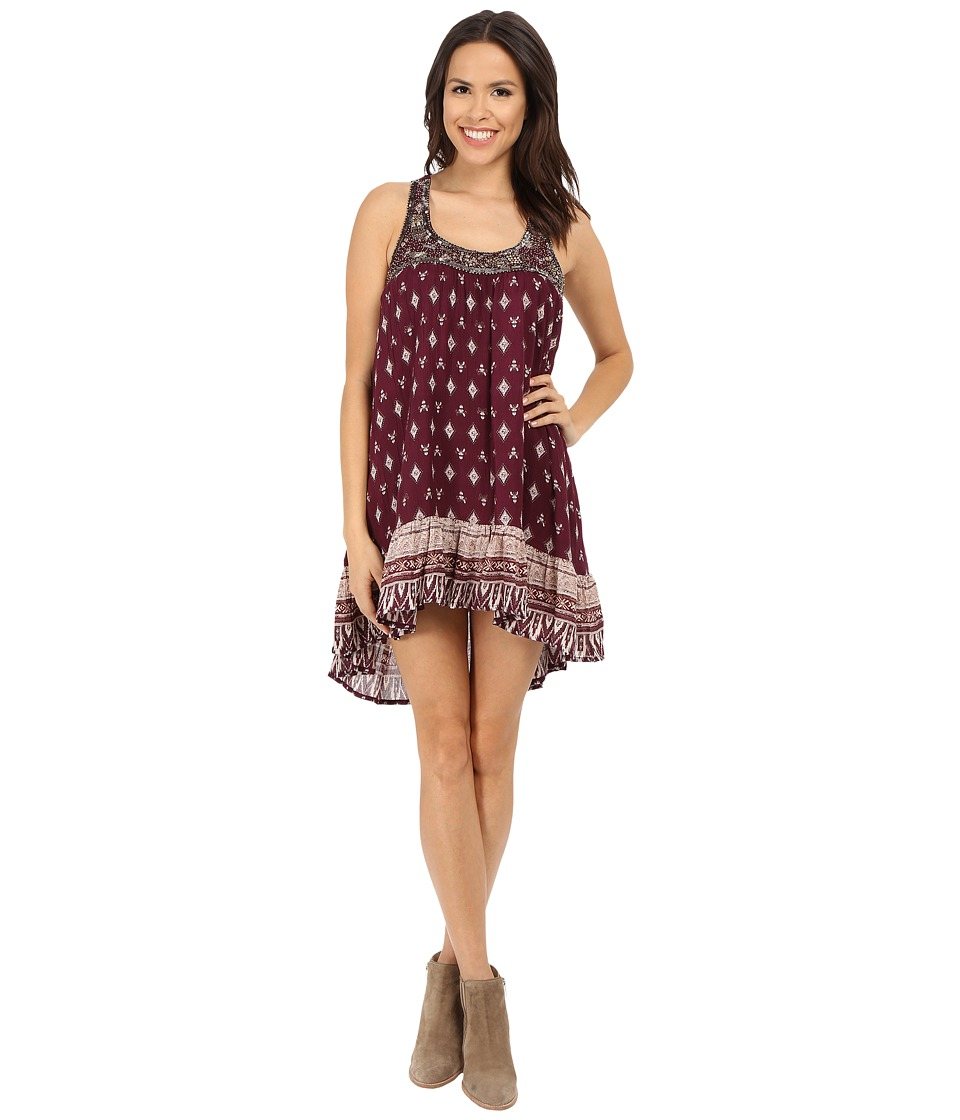 Brigitte Bailey - Ava Printed Dress with Bead Detail (Wine) Women's Dress