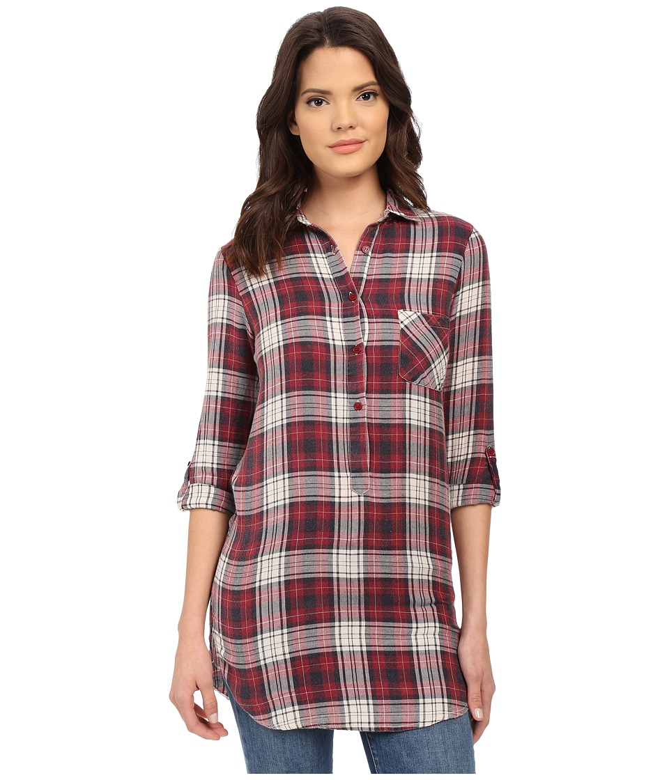 Brigitte Bailey - Clare Plaid Button Tunic (Wine/Navy) Women's Dress