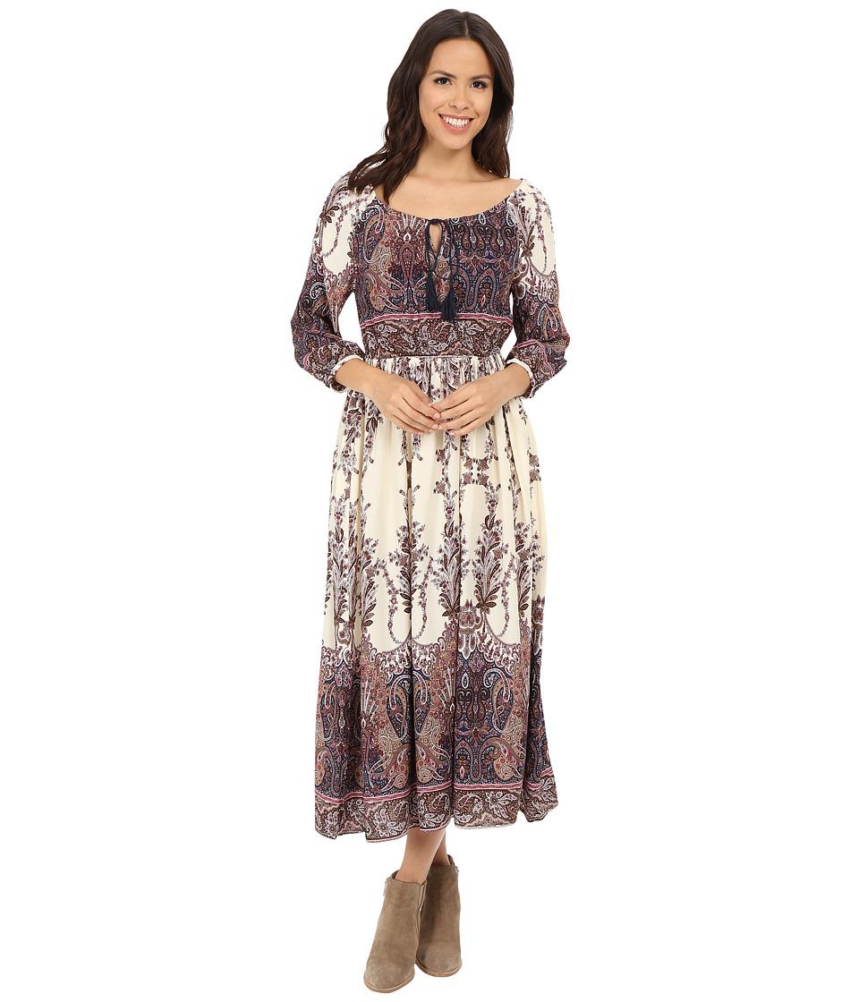 Brigitte Bailey - Olivia Long Sleeve Printed Maxi Dress (Cream/Brown) Women