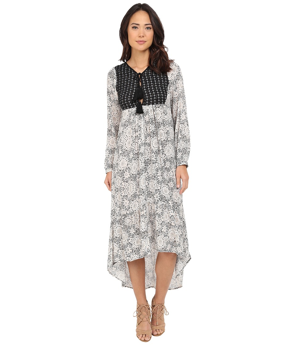 Brigitte Bailey - Evelyn Printed Maxi Dress with Tassels (Cream/Black) Women