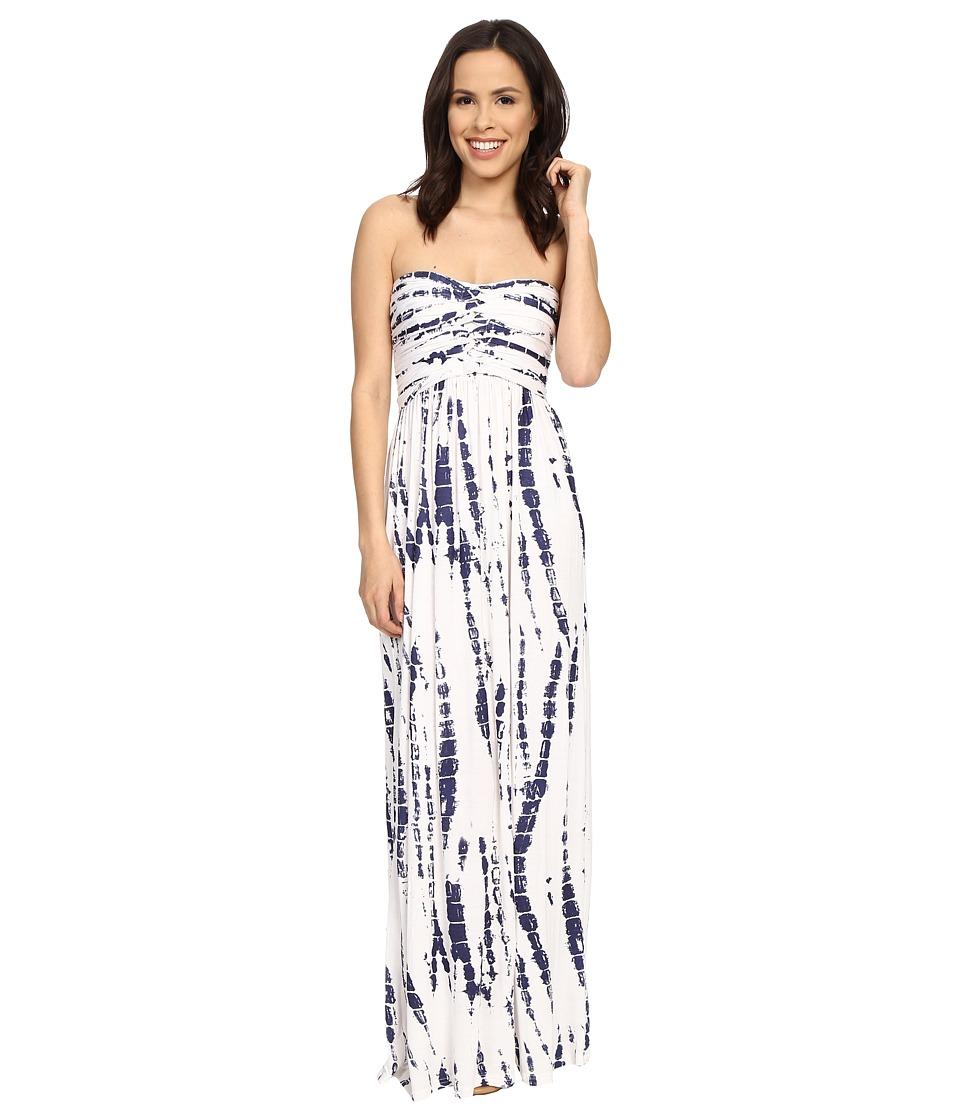 Culture Phit - Liliana Maxi Dress (White/Navy Tie-Dye) Women's Dress
