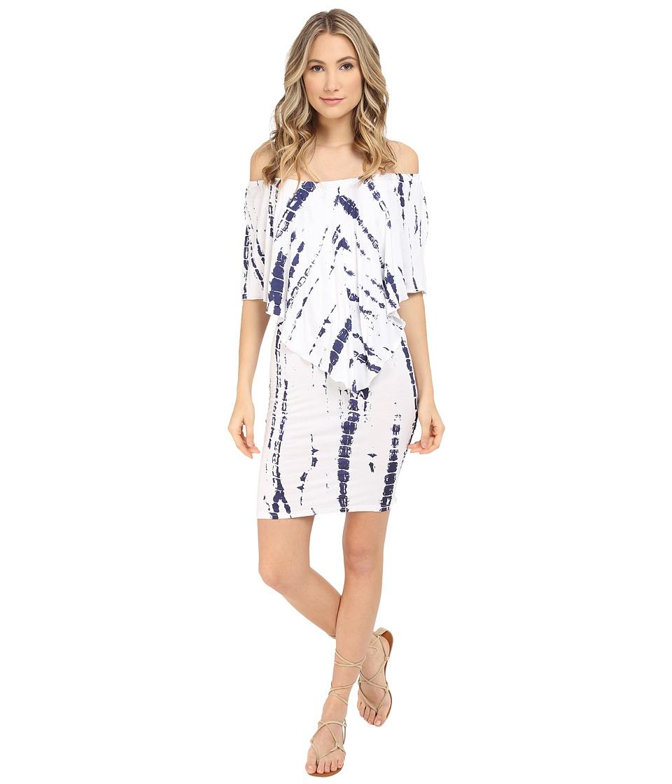 Culture Phit - Nalah Dress (White/Navy Tie-Dye) Women's Dress