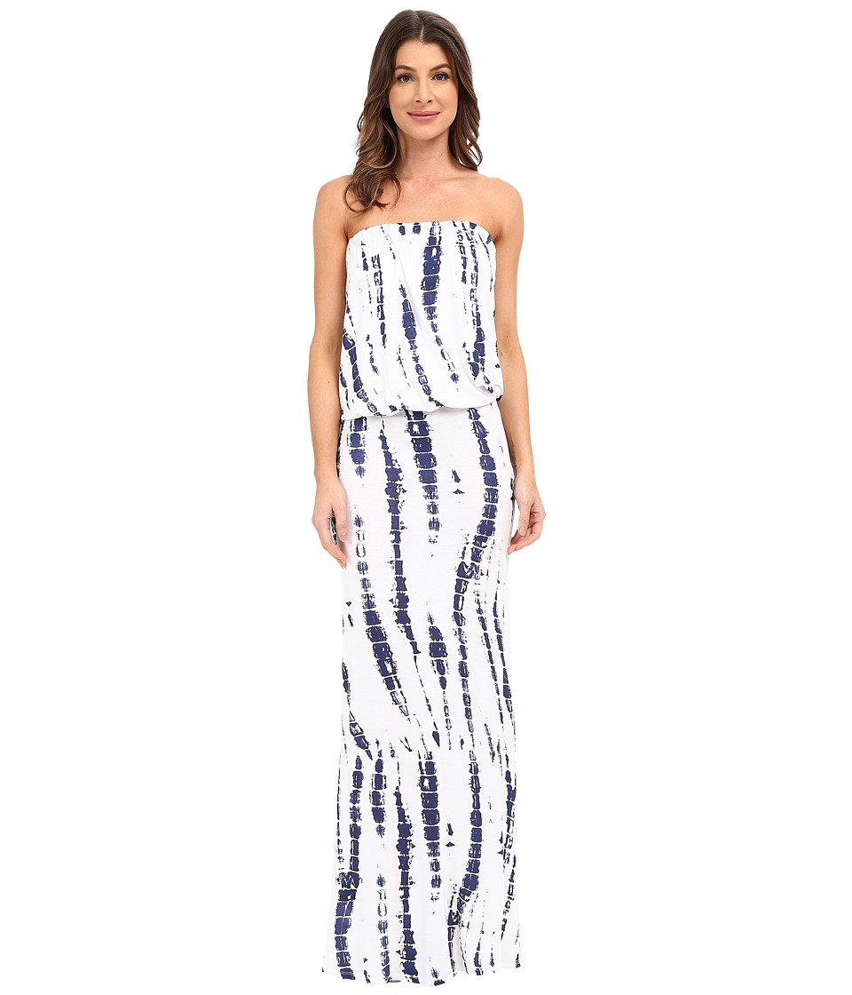 Culture Phit Riena Maxi Dress (White/Navy Tie-Dye) Women's Dress