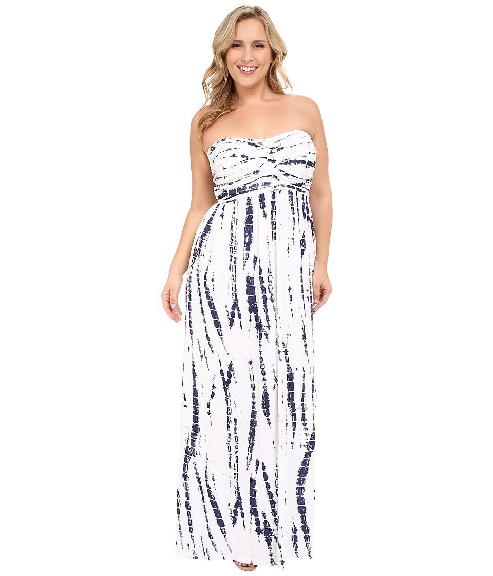 Culture Phit - Plus Size Liliana Maxi Dress (White/Navy Tie-Dye) Women's Dress
