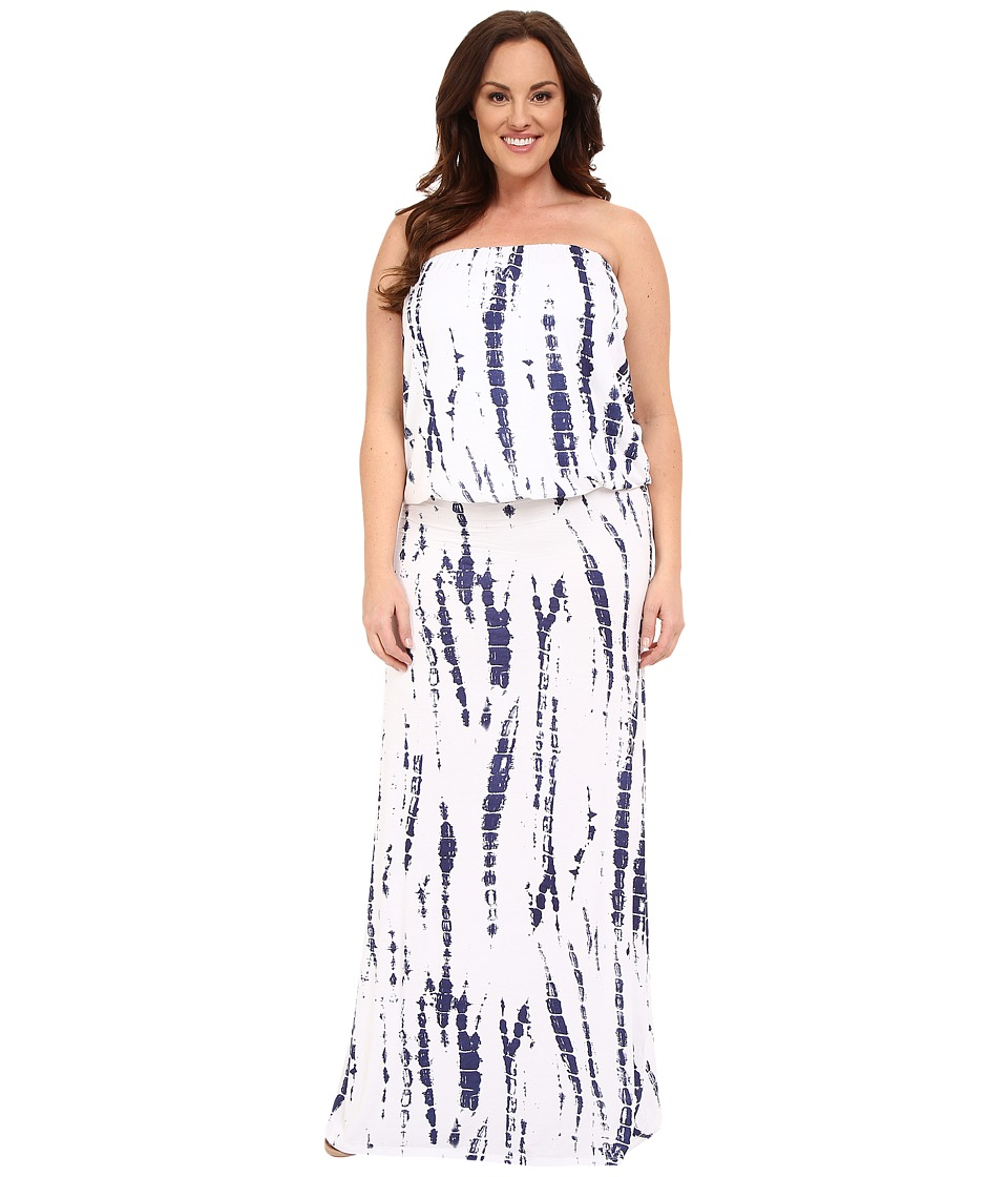 Culture Phit - Plus Size Riena Maxi Dress (White/Navy Tie-Dye) Women's Dress