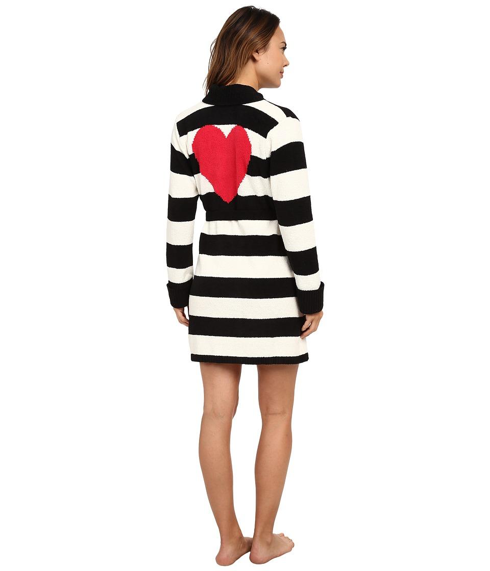 Betsey Johnson - Cozy Sweater Robe (Stripe Pristine/Raven Black) Women's Robe