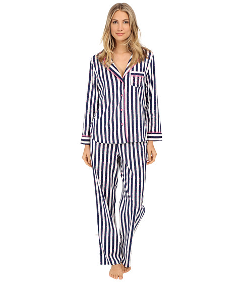 Betsey Johnson - Flannel Pajama (Wonderland Stripe/Navy Seals) Women