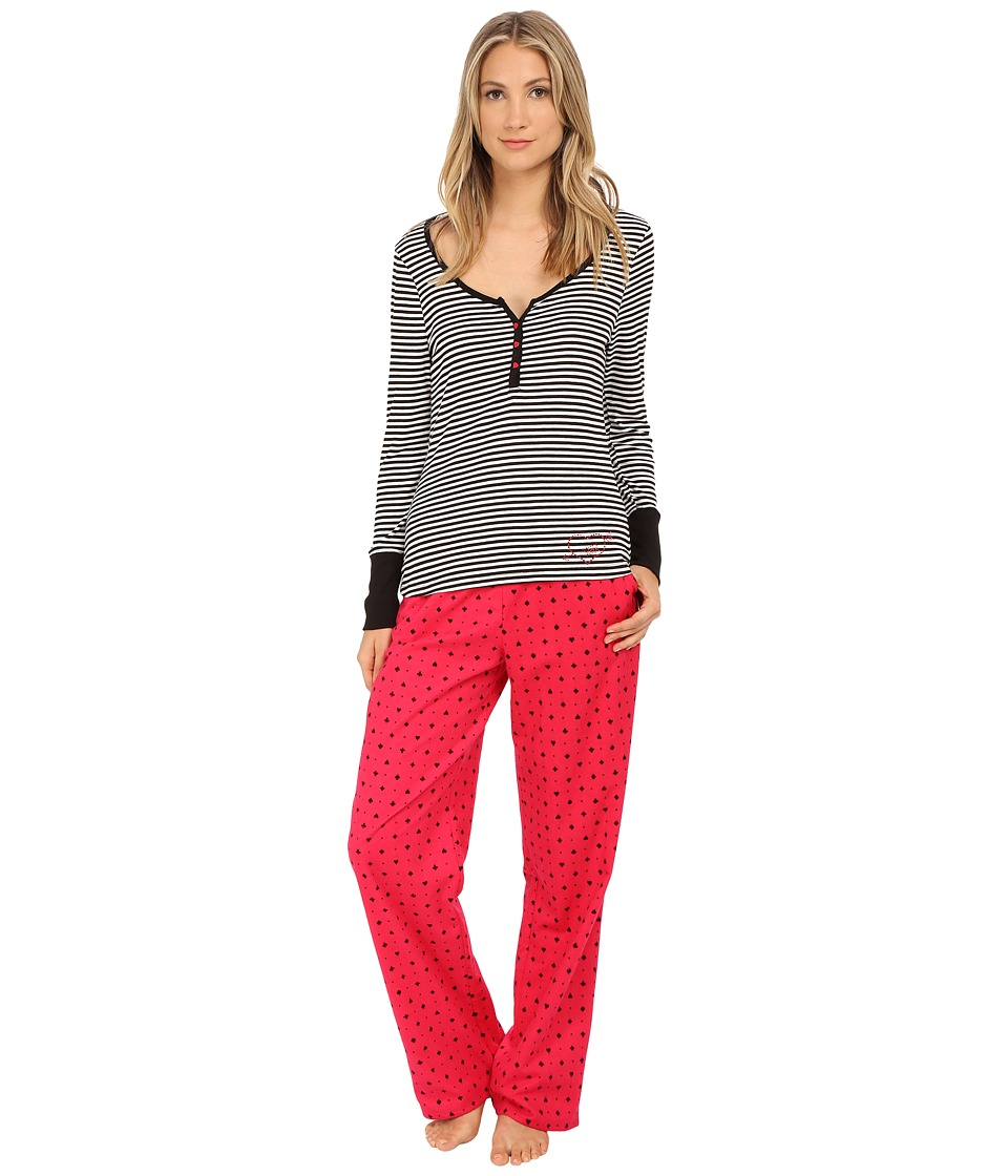 Betsey Johnson - Rib and Flannel Pajama (Hearts & Spades Red Hot/Mini Stripe) Women's Pajama Sets