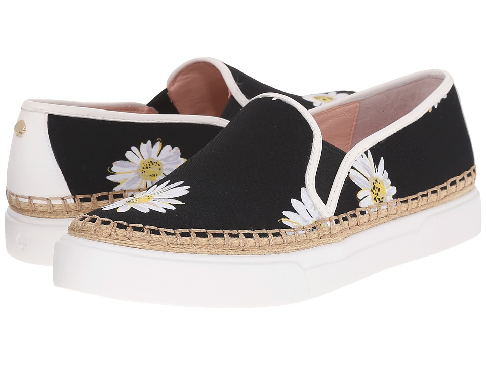 Kate Spade New York - Cory (Black Falling Daisy Printed Fabric/White Nappa) Women's Shoes