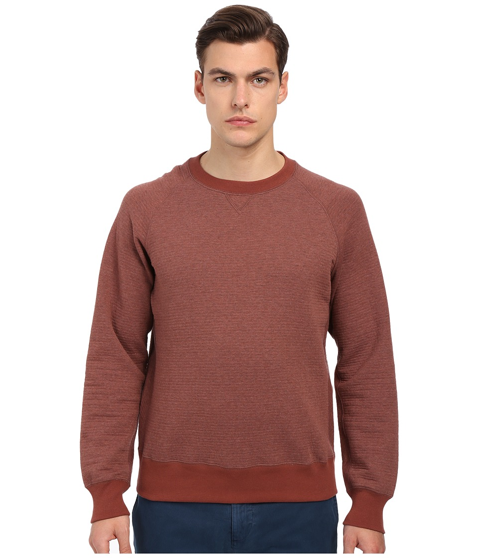 Billy Reid - Quilted Crew (Brick Red) Men's Sweatshirt