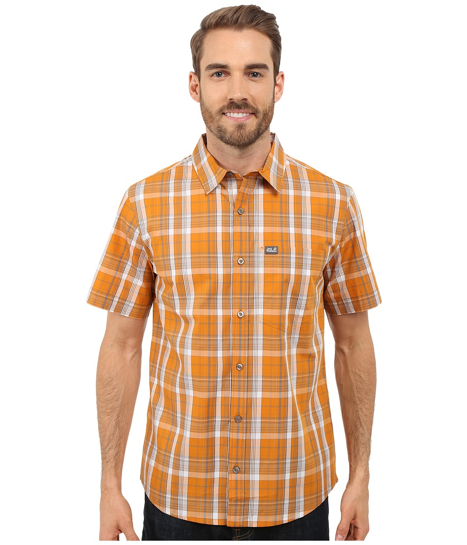 Jack Wolfskin - Hot Chili Shirt (Curcuma Checks) Men's Short Sleeve Button Up