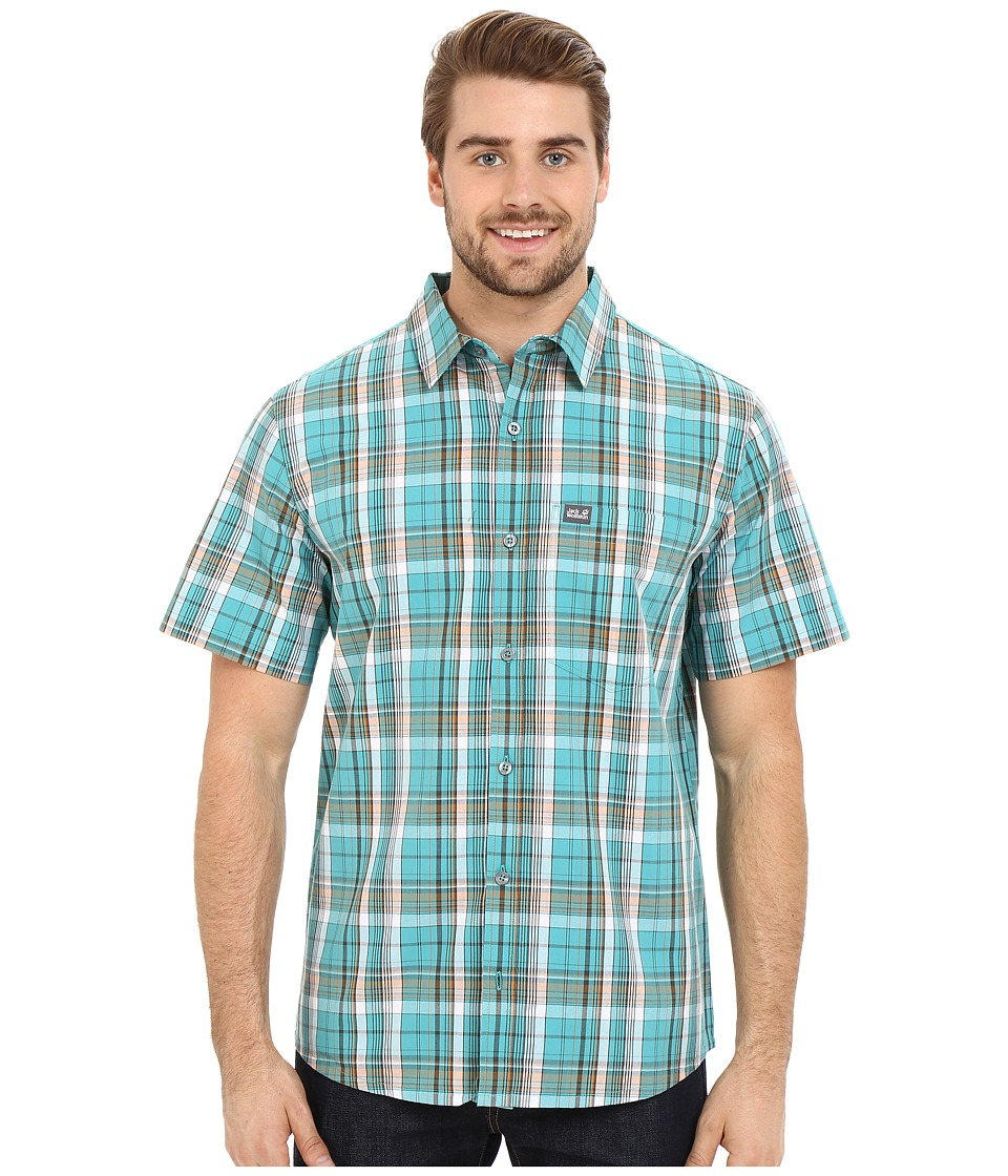 Jack Wolfskin - Hot Chili Shirt (Spearmint Checks) Men's Short Sleeve Button Up