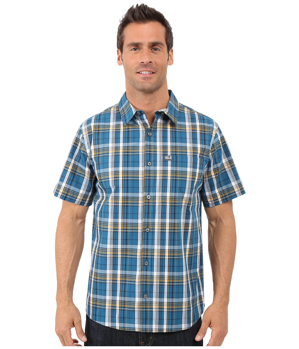 Jack Wolfskin - Hot Chili Shirt (Moroccan Blue Light Checks) Men's Short Sleeve Button Up