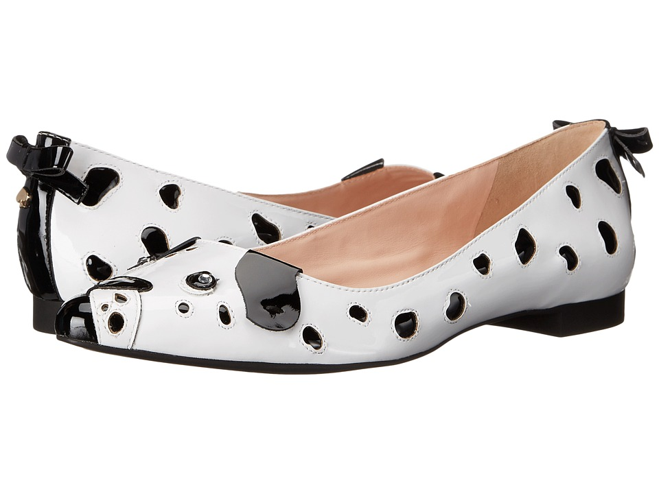 Kate Spade New York - Elena (White/Black Patent) Women's Dress Flat Shoes