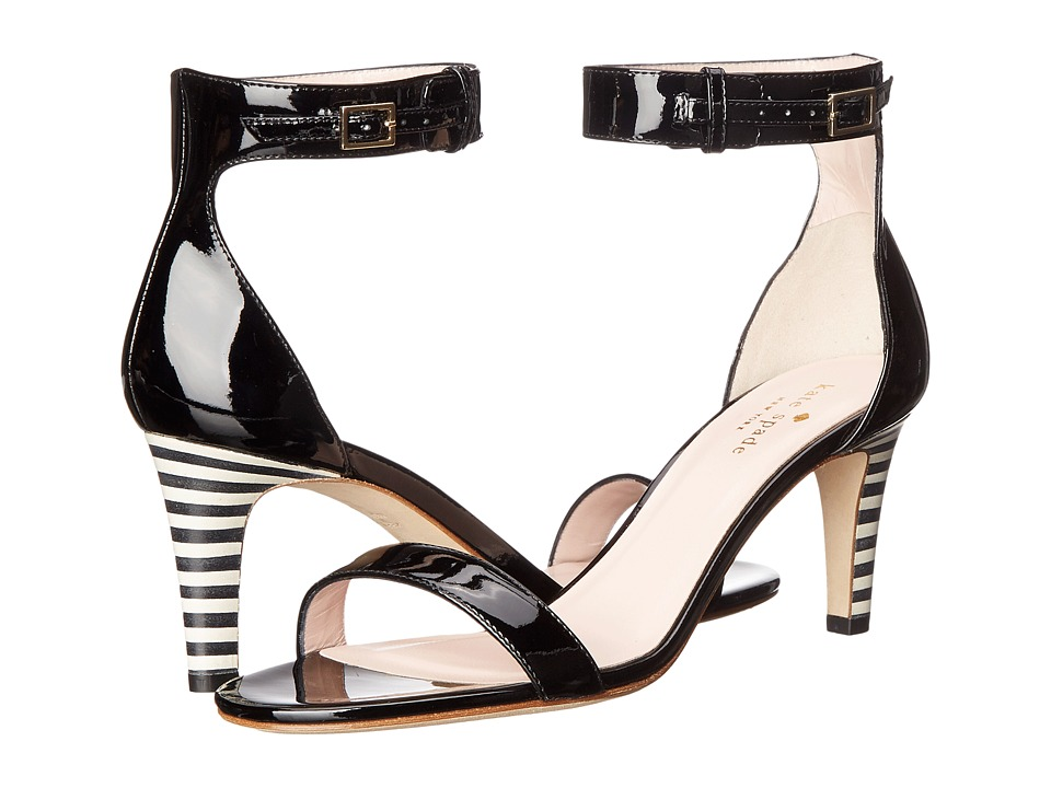 Kate Spade New York Elsa (Black Patent/Black/White Stripe Stack Heel) Women