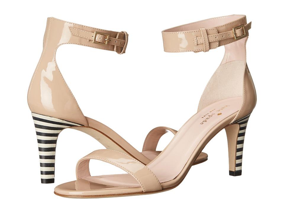 Kate Spade New York - Elsa (Powder Patent/Black/White Stripe Stack Heel) Women's Shoes