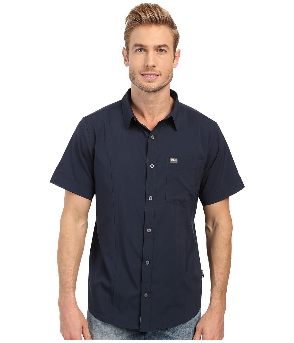 Jack Wolfskin - Egmont Shirt (Night Blue 2) Men's Short Sleeve Button Up