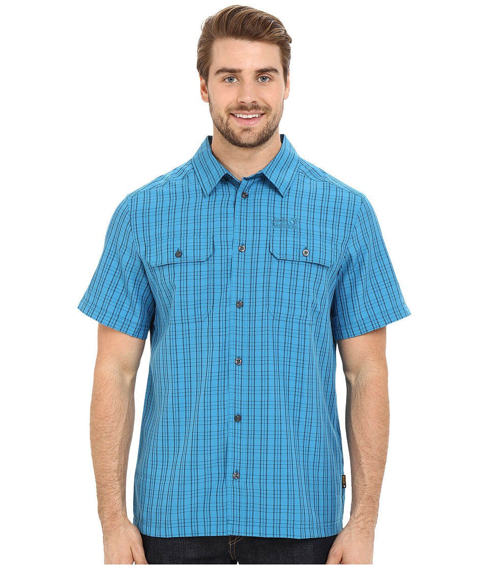 Jack Wolfskin - Thompson Shirt (Dark Turquoise Checks) Men's Clothing
