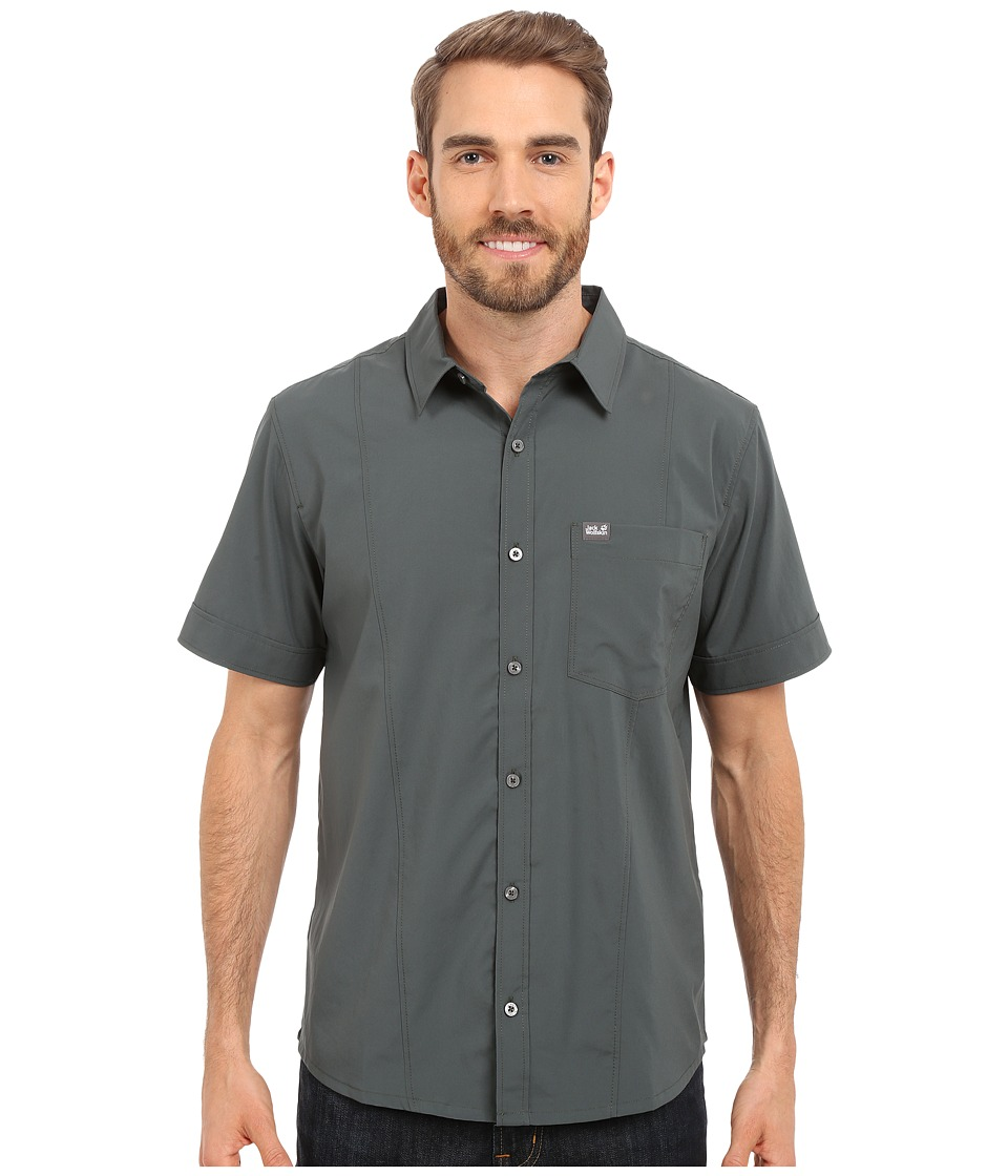 Jack Wolfskin - Egmont Shirt (Greenish Grey) Men's Short Sleeve Button Up
