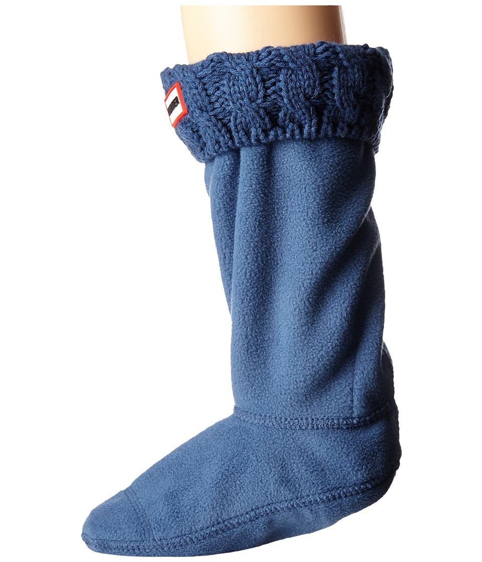 Hunter Kids - 6 Stitch Cable Boot Sock (Toddler/Little Kid/Big Kid) (Tarp Blue) Girls Shoes