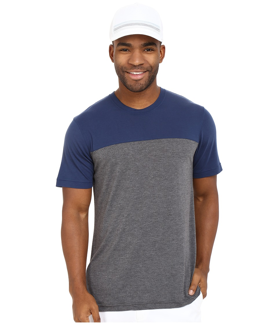 TravisMathew - RED Sidekick Shirt (Heather Dark Shadow) Men's T Shirt