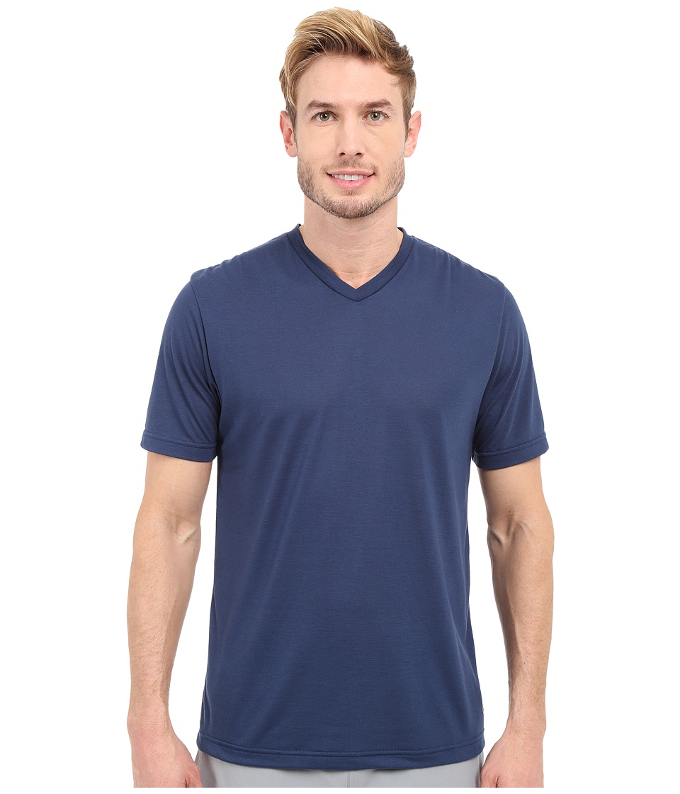 TravisMathew - RED Uncle Bob Shirt (Insignia Blue) Men's Workout