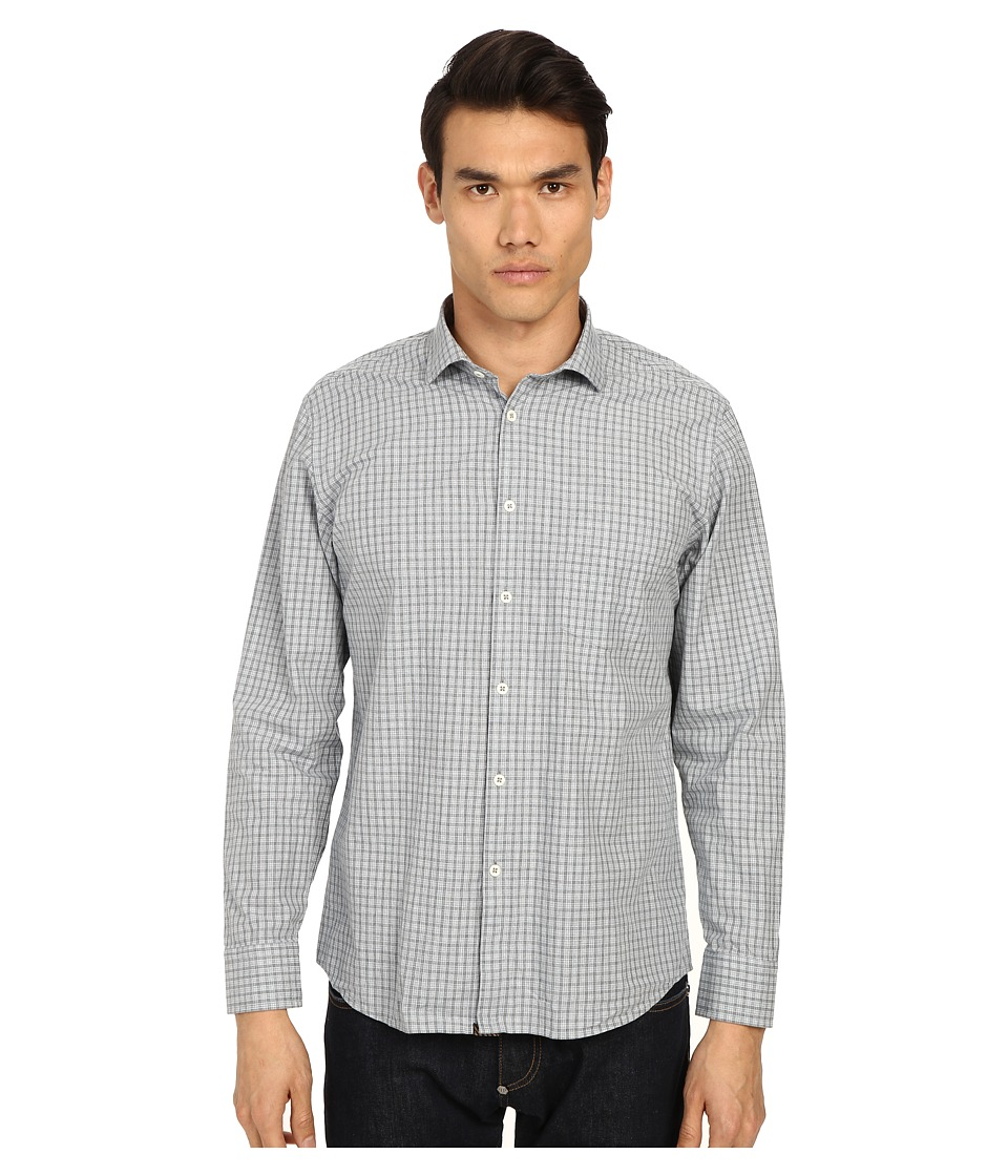 Billy Reid - John T-Shirt Button Up (Grey/Blue) Men's Long Sleeve Button Up