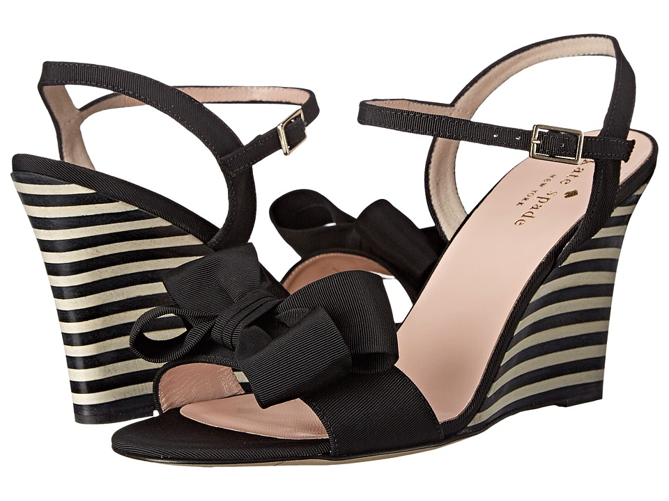 Kate Spade New York - Iballa (Black Grosgrain/Black/White Stripe Stack Heel) Women's Shoes