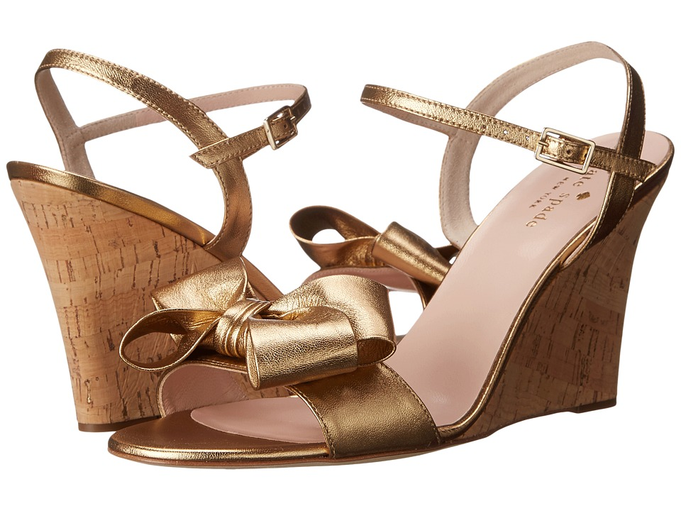 Kate Spade New York - Iballa (Old Gold Metallic Nappa/Gold Fleck Cork Covered Heel) Women's Shoes