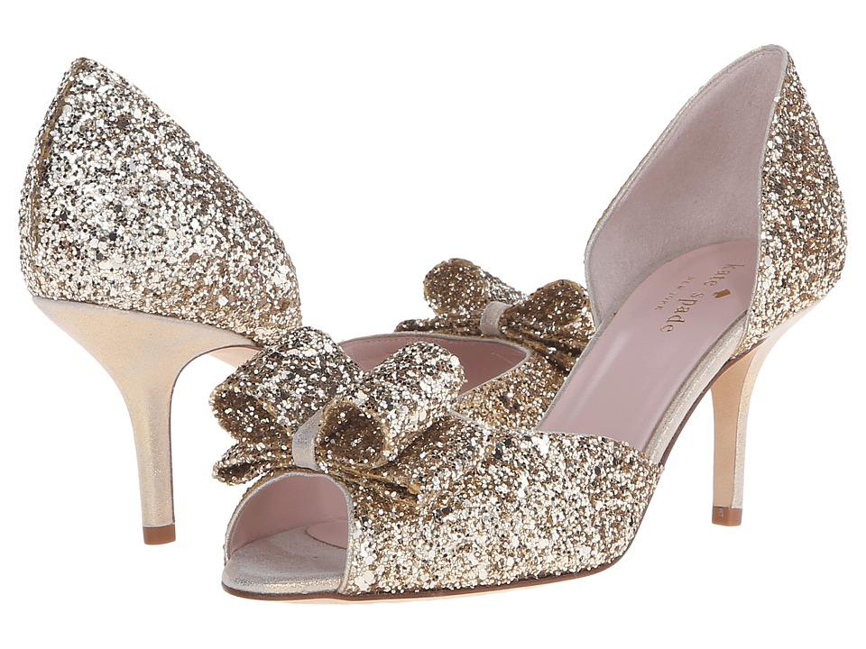 Kate Spade New York - Sela (Gold Glitter/Gold Liquid Suede) Women's Shoes