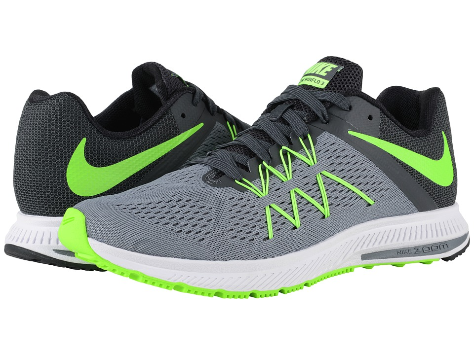 Nike - Zoom Winflo 3 (Cool Grey/Anthracite/Black/Electric Green) Men's Running Shoes