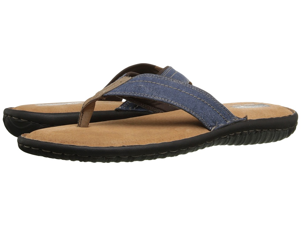 Florsheim Coastal Thong Sandal (Navy Canvas/Brown Crazy Horse) Men