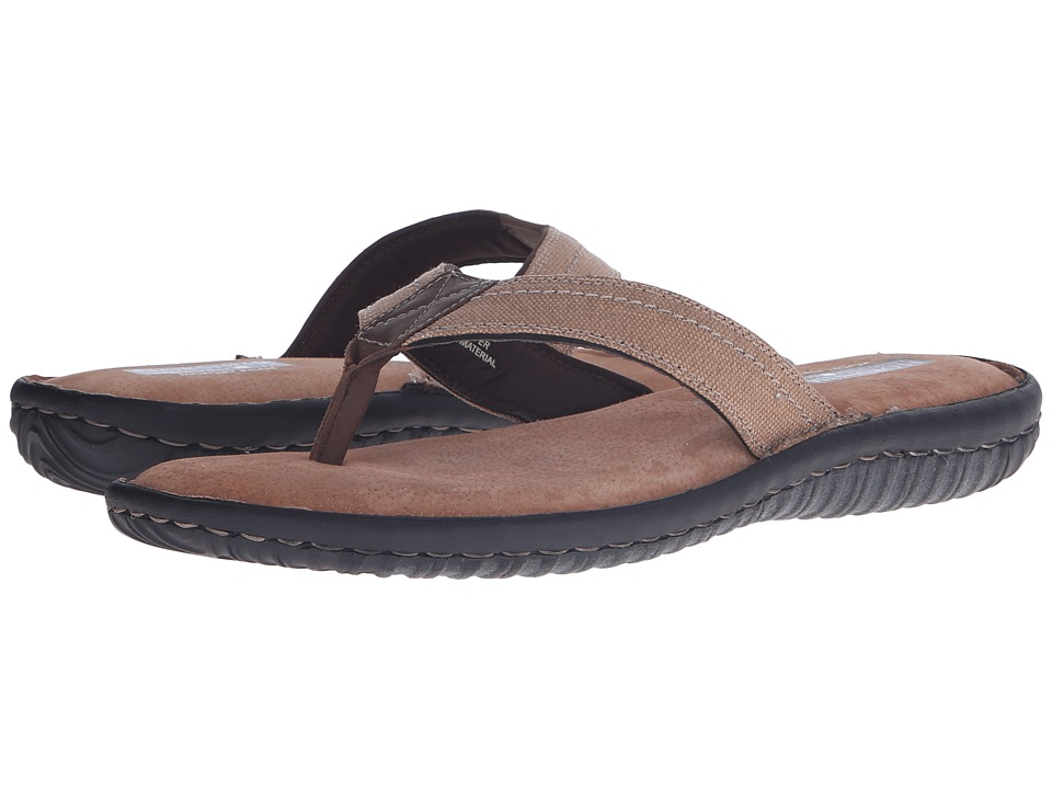 Florsheim Coastal Thong Sandal (Sand Canvas/Brown Crazy Horse) Men