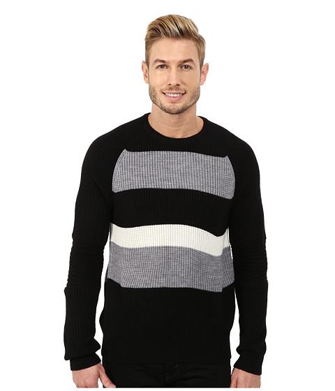 Kenneth Cole Sportswear - Stripe Block Crew (Black) Men's Clothing
