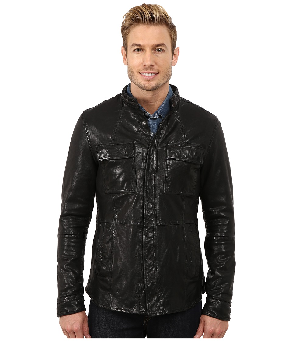 Kenneth Cole Sportswear - Distressed Leather Jacket with Chest Pockets (Black) Men's Jacket