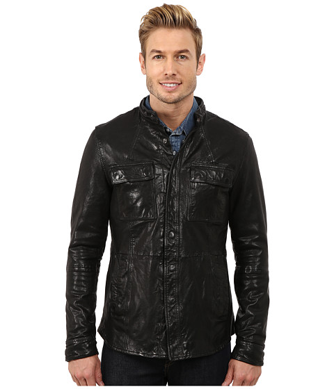 Kenneth Cole Sportswear - Distressed Leather Jacket with Chest Pockets (Black) Men