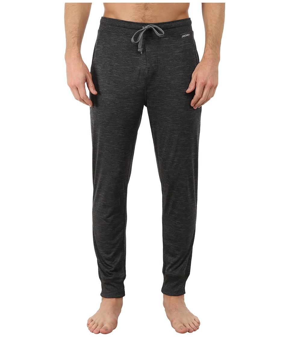 Jockey - Poly Jersey Varigated Knit Sleep Pants (Charcoal Heather Grey) Men