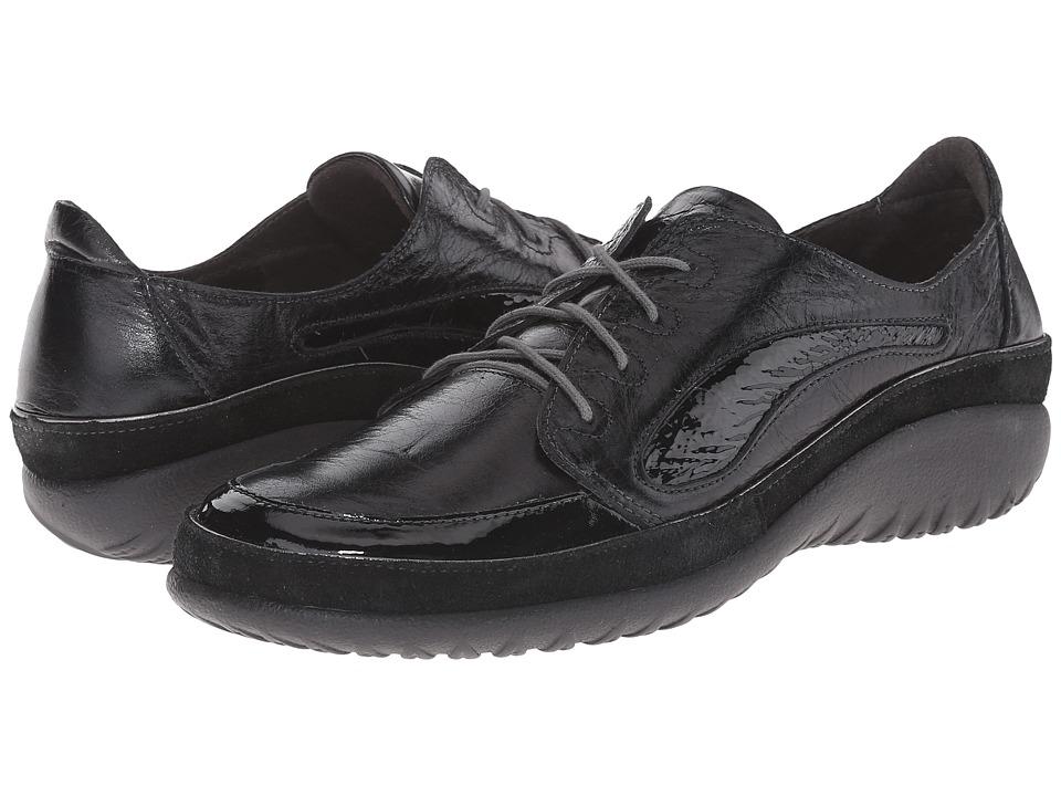 Naot Footwear - Hikaru (Black Gloss/Black Suede/Black Patent) Women's Lace Up Moc Toe Shoes