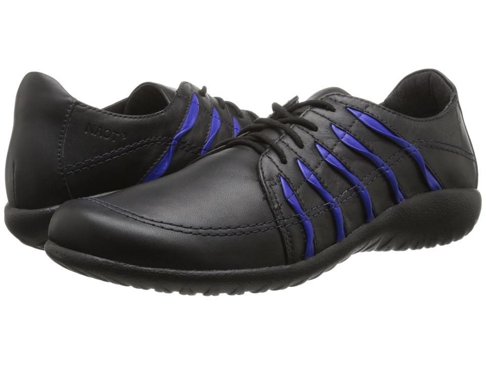 Naot Footwear - Tanguru (Black Leather/Royal Blue) Women