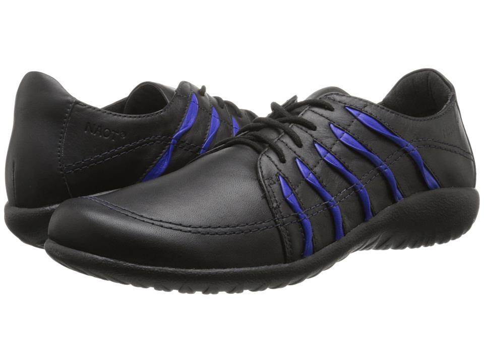 Naot Footwear - Tanguru (Black Leather/Royal Blue) Women's Shoes
